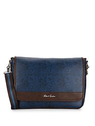 Robert Graham Paisley Print Faux Leather Messenger Bag Blue