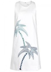Victoria Beckham White Palm Tree Embroidered Dress