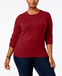 Charter Club Plus Size Cashmere Crewneck Sweater Only At Macy's New Red Amore