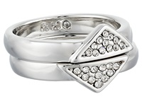 Rebecca Minkoff Set Of Two Triangle Band Ring Rhodium Crystal Ring Silver