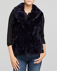Surell Shawl Collar Rabbit Fur Vest Navy