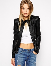 Noisy May Riccy Faux Leather Jacket Black