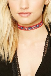 Forever 21 Abstract Woven Choker Set Red White