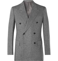 Kingsman Grey Slim Fit Double Breasted Herringbone Wool And Cashmere Blend Suit Jacket Gray