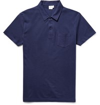 Sunspel Riviera Cotton Mesh Polo Shirt Navy