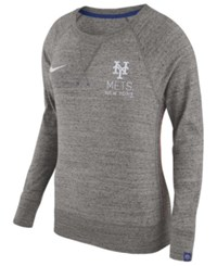 Nike Women's New York Mets Vintage Crew Long Sleeve T Shirt Charcoal