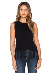 Central Park West Brown Fringe Sleeveless Sweater Black