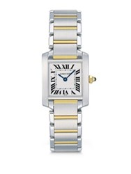 Cartier Tank Francaise Small Stainless Steel And 18K Yellow Gold Bracelet Watch No Color