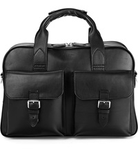 Aspinal Of London Harrison Leather Overnight Business Bag Black