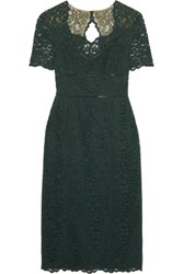 Mikael Aghal Cutout Lace Midi Dress Dark Green