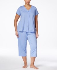 Charter Club Plus Size Printed Pajama Set Only At Macy's Blue Duo Dot
