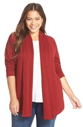 Plus Size Women's Lucky Brand Mix Stitch Cardigan Rich Dark Red