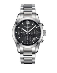 Longines Mens Conquest Classic Chronograph Watch Silver