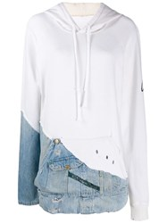 Greg Lauren Hoodie With Denim Patch White