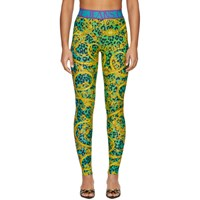 Versace Jeans Couture Green And Gold Leopard Print Baroque Leggings