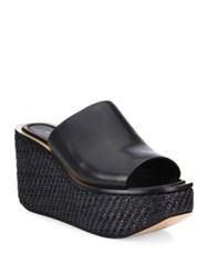 Michael Kors Jane Leather Wedge Platform Mules Peanut Black