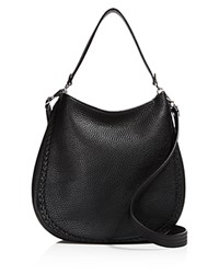 Rebecca Minkoff Unlined Whipstitch Convertible Hobo Black Silver