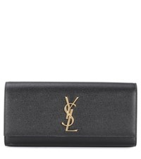 Saint Laurent Classic Monogram Leather Clutch Black