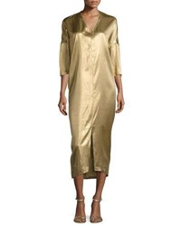 Zero Maria Cornejo Koy 3 4 Sleeve Fluid Metallic Midi Dress Gold