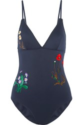 Stella Mccartney Embroidered Neoprene Swimsuit Navy