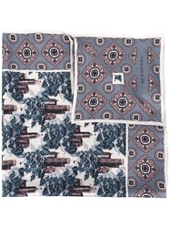 Burberry Castle And Flower Print Scarf Steel