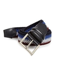 Canali Multicolor Braided Belt Blue Maroon