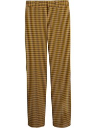 Burberry Checked Straight Leg Trousers Yellow And Orange