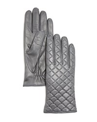 Bloomingdale's Quilted Gloves Gray