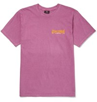 Stussy Slim Fit Printed Cotton Jersey T Shirt Pink