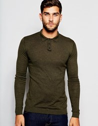 Asos Fitted Fit Knitted Polo In Cotton Dark Khaki