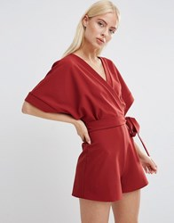 Asos Kimono Playsuit With Wrap Front Red