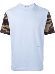 Christian Dior Dior Camouflage Sleeve T Shirt Blue