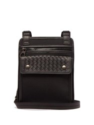 Bottega Veneta Intrecciato Woven Leather And Canvas Bag Black