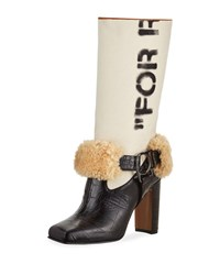 Off White For Riding Mixed Media Boots Black