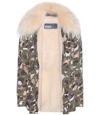 Army By Yves Salomon Fur Lined Printed Parka Multicoloured