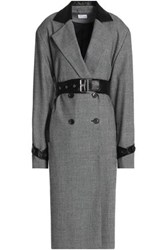 Magda Butrym Belted Leather Trimmed Prince Of Wales Checked Wool Trench Coat Gray