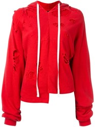 Unravel Project Deconstructed Distressed Hoodie Red