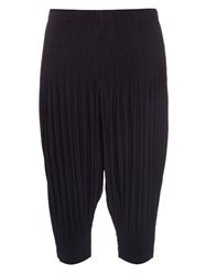 Homme Plisse Dropped Crotch Pleated Cropped Trousers Navy