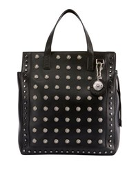 Balmain Men's Studded Leather Tote Bag Noir