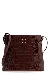 Trademark Sybil Croc Embossed Leather Tote Brown Chocolate Brown