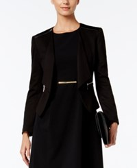 Nine West Roma Faux Leather Trim Blazer Black
