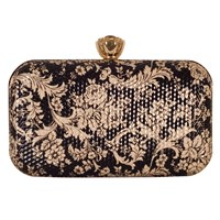 Chesca Floral Clutch Bag Black Gold