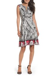 Maggy London Women's Scuba Fit And Flare Dress White Black Pink