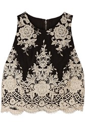 Alice Olivia Cropped Embroidered Mesh Top Black