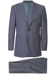 Gieves And Hawkes Mini Geometric Print Suit Blue