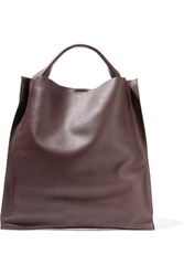 Jil Sander Textured Leather Tote Dark Brown