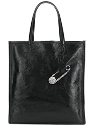 Versus Lion Head Clip Shopper Tote Black