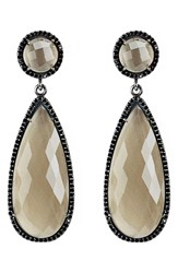Susan Hanover Women's Semiprecious Stone Double Drop Earrings Smoky Quartz Gunmetal