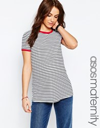 Asos Maternity Stripe T Shirt With Red Tipping Detail Multi