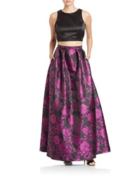 Xscape Evenings Two Piece Crop Top And Floral Skirt Set Black Fuchsia